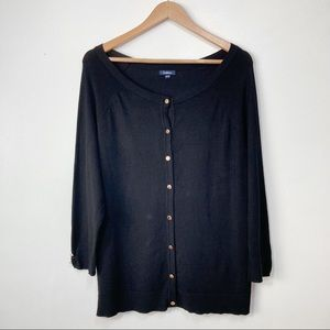 Reitmans Classic Black Button Down Cardigan With Gold Buttons Size XXL